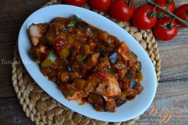 Рецепт Тушеные овощи с копченой куриной грудкой