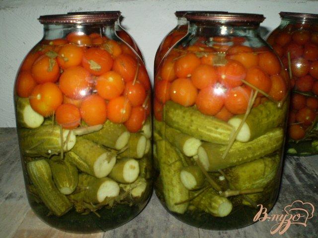 Фото приготовление рецепта: Огурцы и помидоры консервированные шаг №6