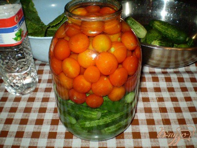 Фото приготовление рецепта: Огурцы и помидоры консервированные шаг №5