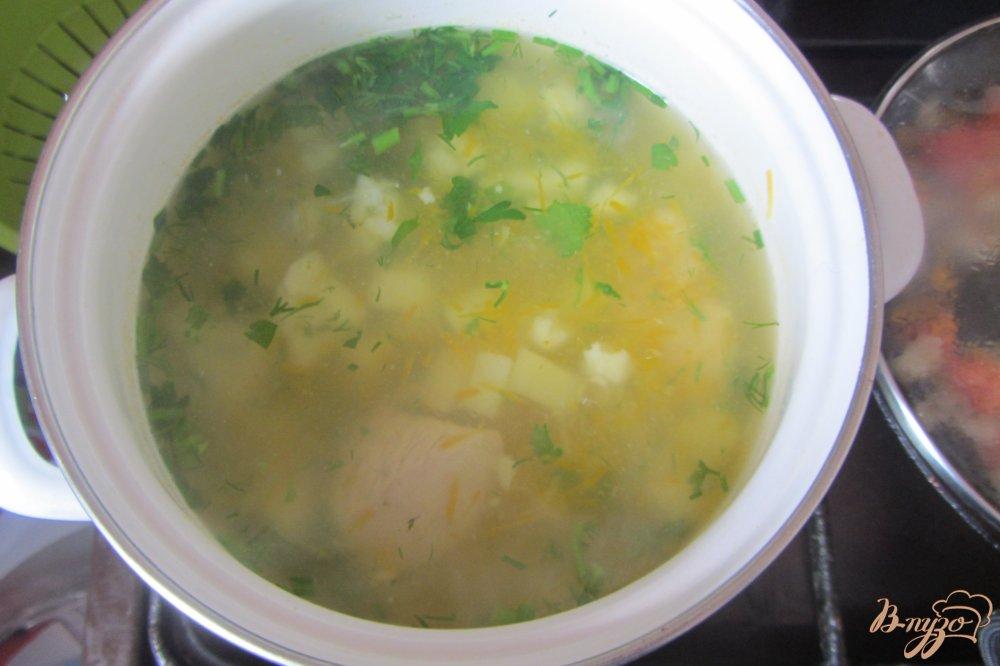 Фото приготовление рецепта: Суп со цветной капустой и индюшкой без зажарки шаг №9
