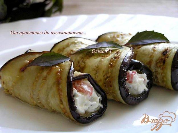 Рецепт Закуска из баклажан с творожным сыром, овощами и базиликом