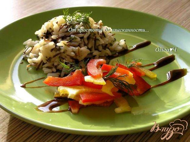 Рецепт Дикий рис с зеленью и салатом из сладкого перца