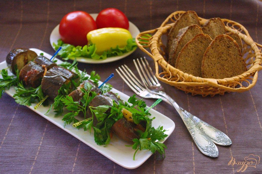 Фото приготовление рецепта: Фаршированные синенькие (баклажаны) шаг №6