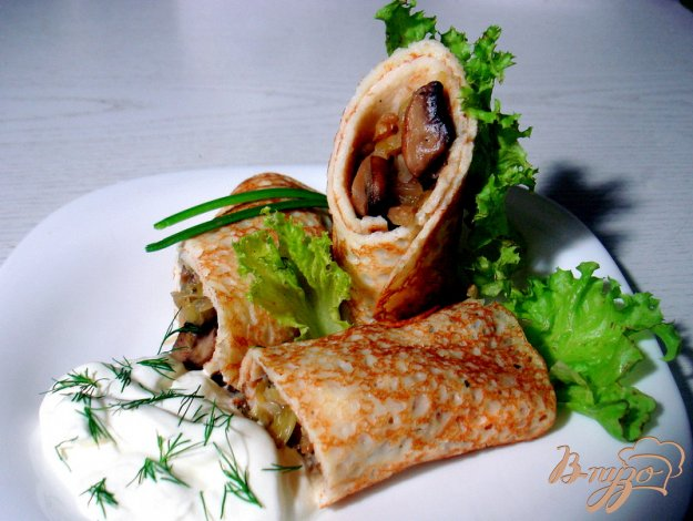Рецепт Блины с грибами и капустой