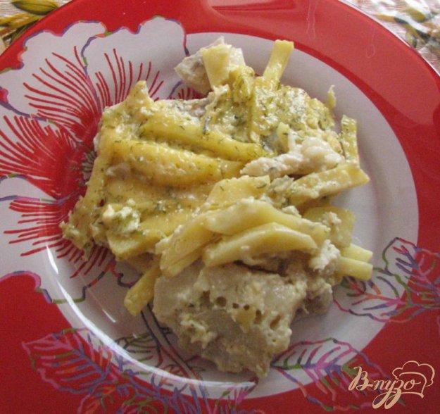 Рецепт Минтай с картошкой под сырным соусом