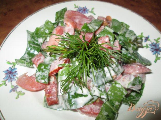 фото рецепта: Салат с щавелем, помидорами и колбасой