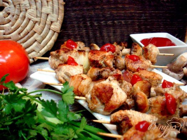 Куриные шашлычки с грибами