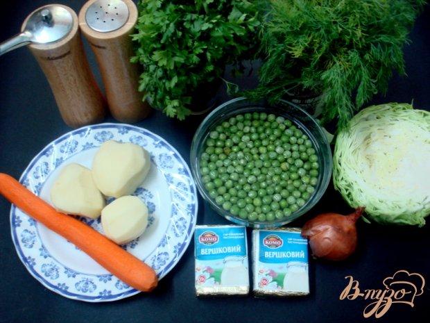 Суп с сырками и зелёным горошком