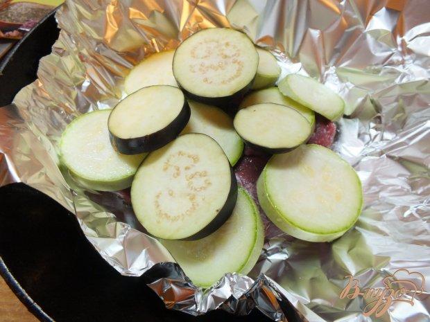 Мясо запеченное слоями с овощами