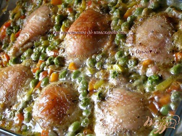 Курица в соусе из зеленого горошка