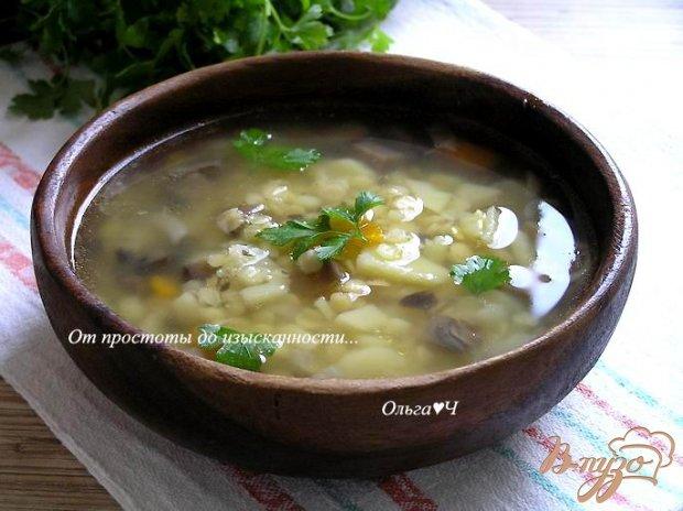 Суп с желтой чечевицей и грибами