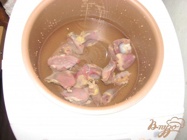 Закуска из куриных сердец и желудочков