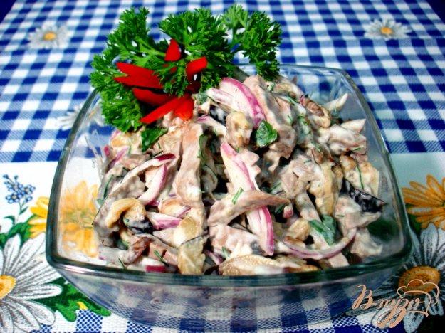 Рецепт Салат из сердца с баклажанами и грибами