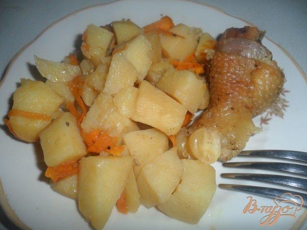 фото рецепта: Тушёный картофель с мясом в чугунке по деревенски