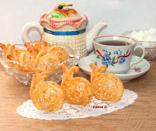 Рецепт Сырно-кунжутное печенье «Улитки»