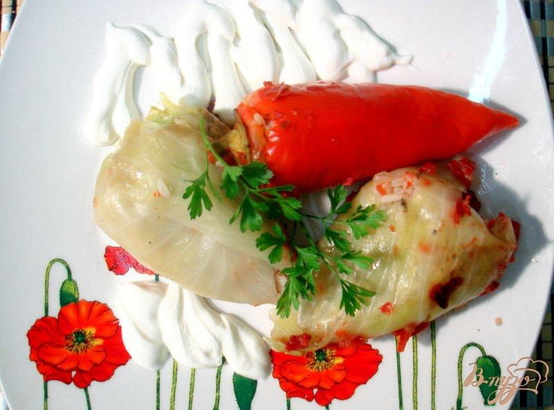 Фото приготовление рецепта: Вегетарианские голубцы и перцы шаг №8