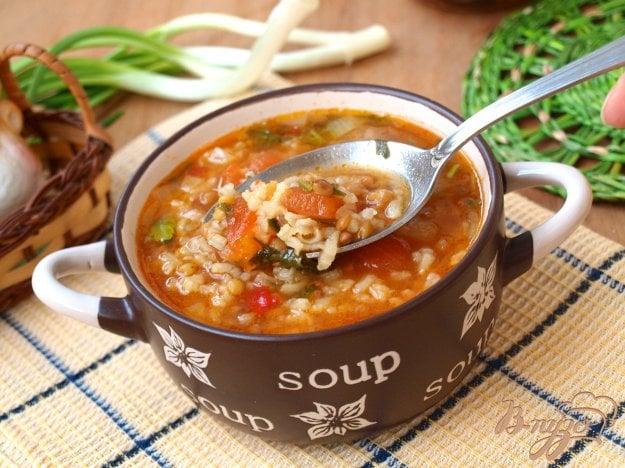 фото рецепта: Рисовый суп с чечевицей и томатами