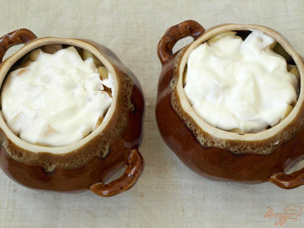 Фото приготовление рецепта: Свинина запечённая в горшочках с грибами и картофелем шаг №4