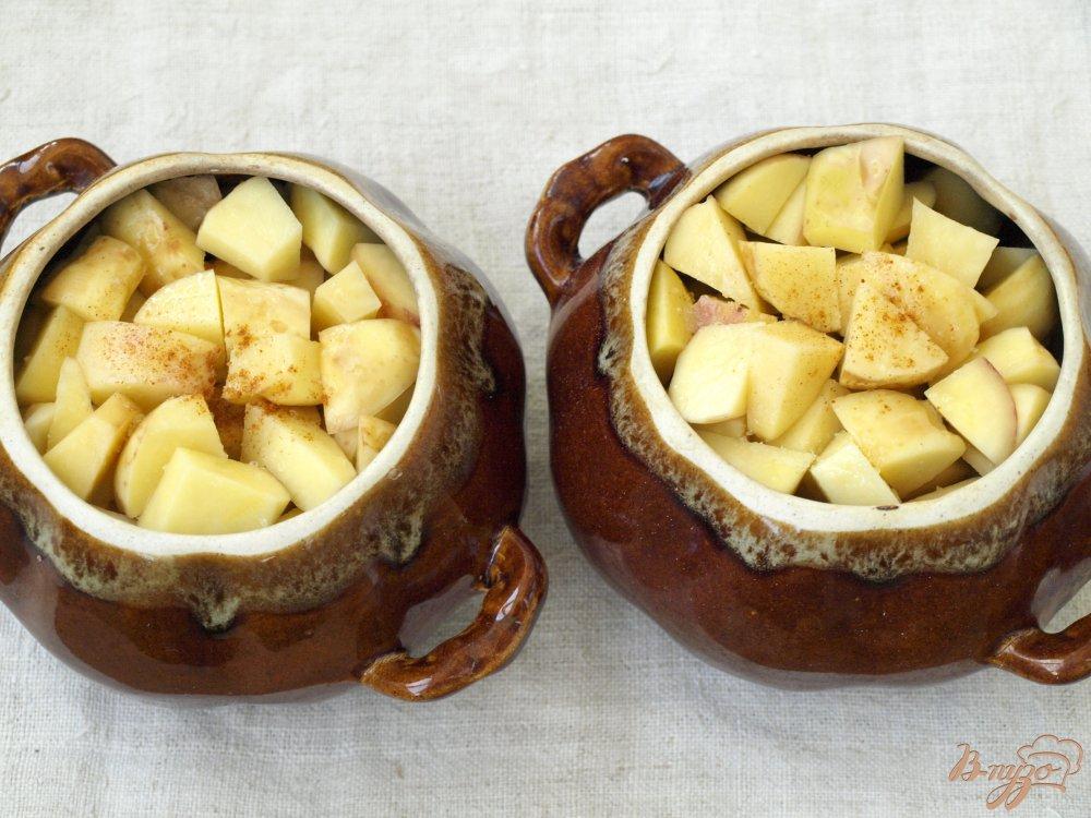 Фото приготовление рецепта: Свинина запечённая в горшочках с грибами и картофелем шаг №3