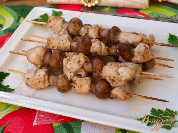 Шашлычки куриные на шпажках с картошкой в духовке рецепт 23