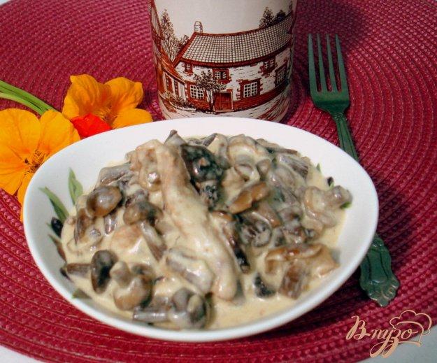 фото рецепта: Опята со свининой в сметанном соусе
