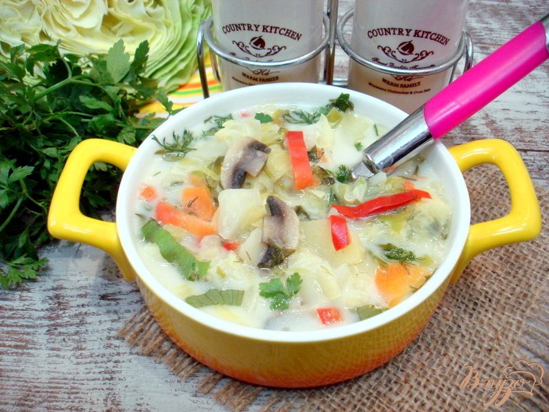 Фото приготовление рецепта: Суп из капусты с сырочками шаг №9