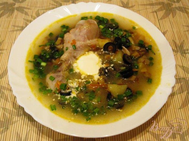фото рецепта: Грибной суп с маслинами