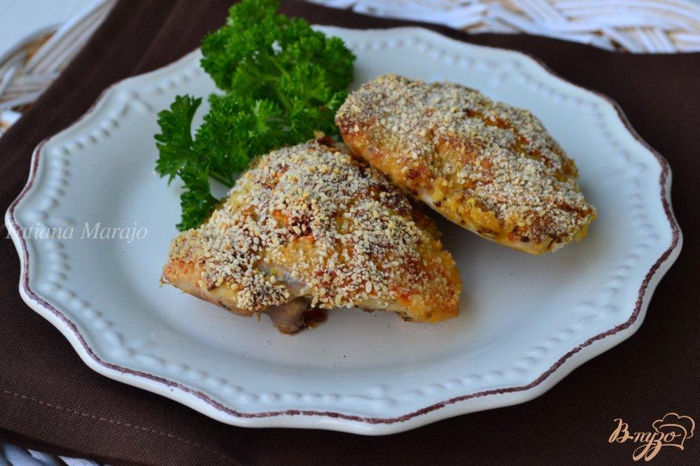 Фото приготовление рецепта: Куриные бедрышки под горчичной корочкой шаг №6