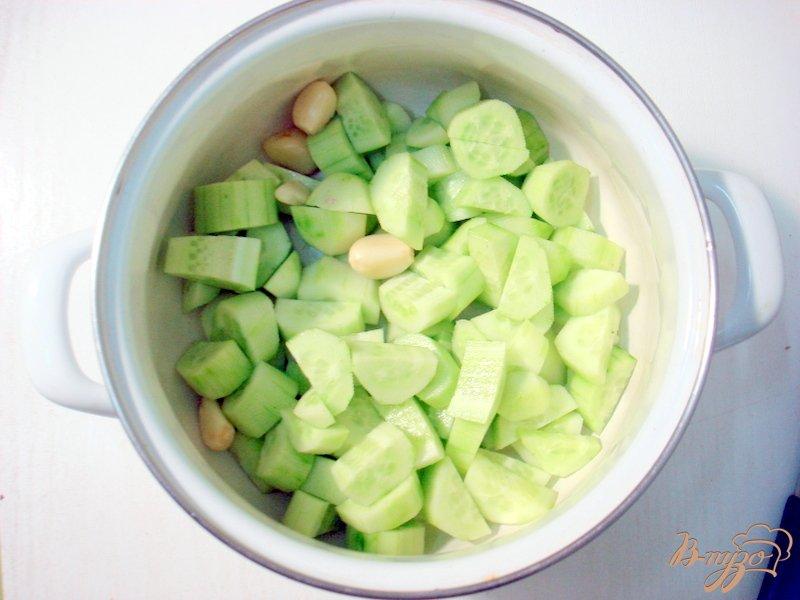 Фото приготовление рецепта: Холодный огуречный суп таратор шаг №2