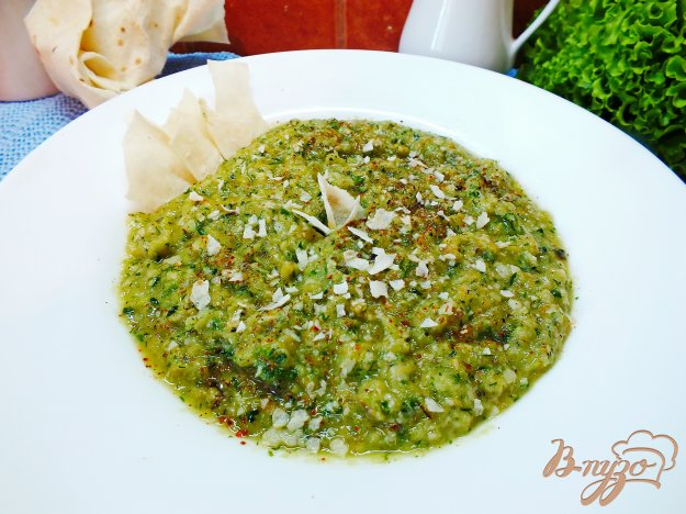 фото рецепта: Холодный суп-пюре из печеных овощей и лаваша