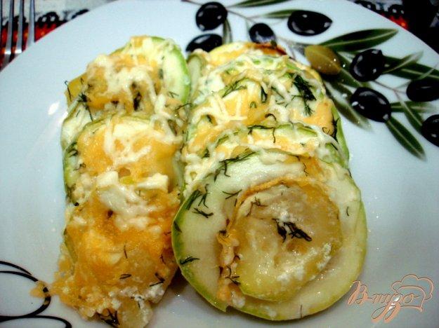 Рецепт Картофель с кабачками запеченные в сливках
