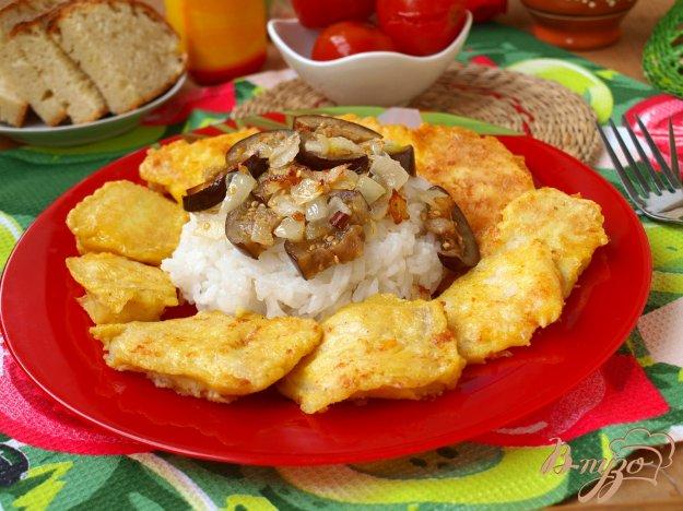 Рецепт Камбала в постном кляре и гарнир из риса с баклажанами