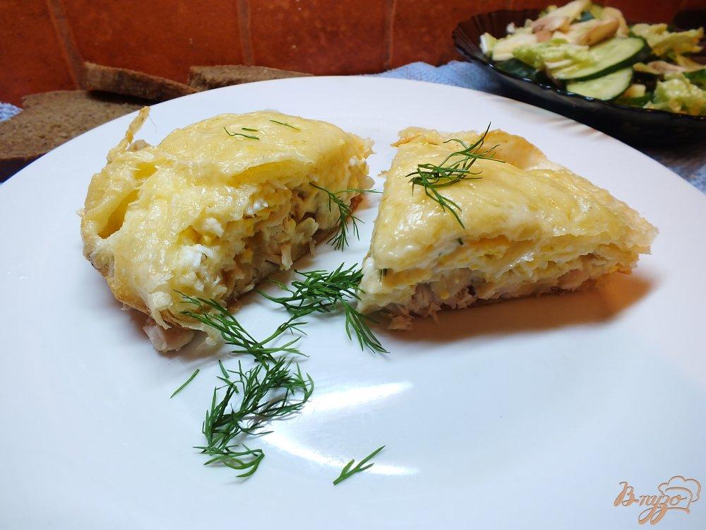 Фото приготовление рецепта: Пирог из лаваша с курицей и яйцом шаг №14