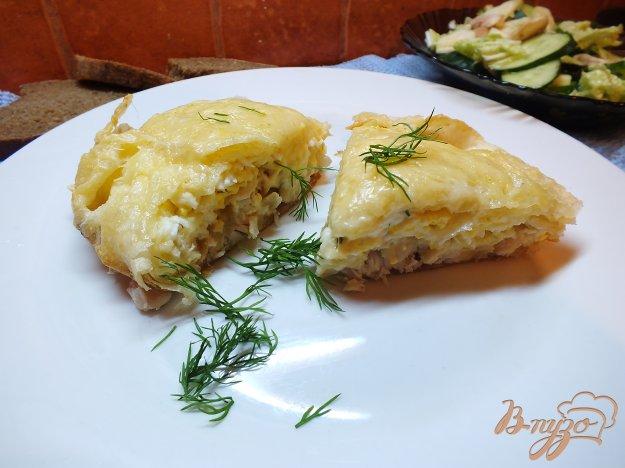 фото рецепта: Пирог из лаваша с курицей и яйцом