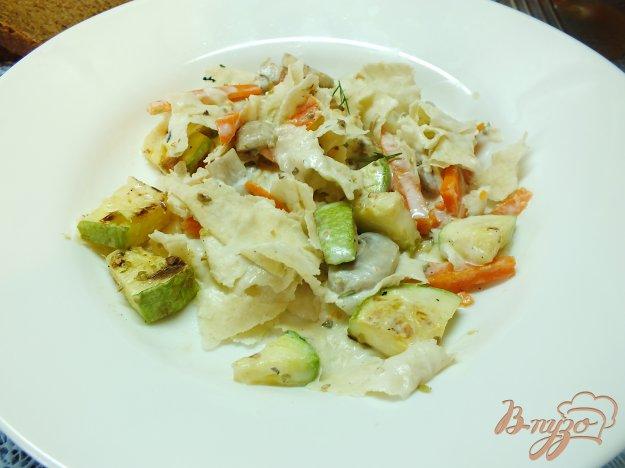 Рецепт Теплый салат с шампиньонами и лавашом