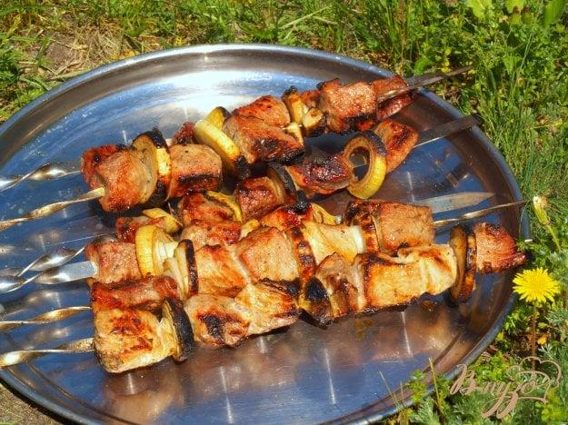 фото рецепта: Шашлык из говядины с горчицей и гранатовым соусом