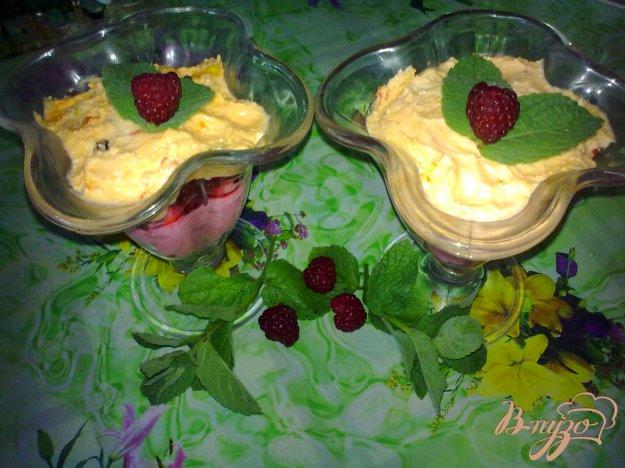 фото рецепта: Десерт творожный с малиной