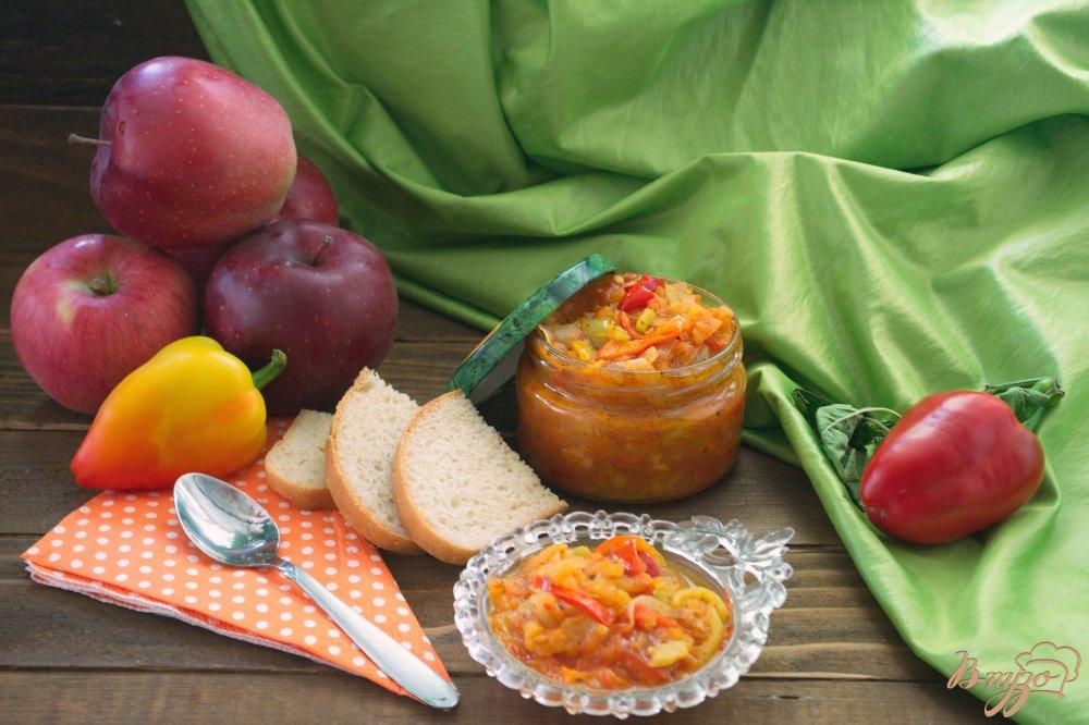 Фото приготовление рецепта: Лечо  из болгарского перца с добавлением яблок шаг №9