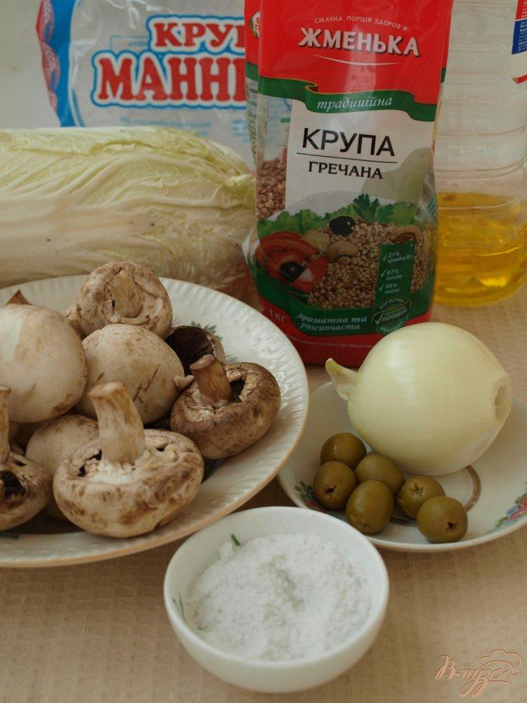 Фото приготовление рецепта: Рулеты из пекинской капусты с гречкой шаг №1