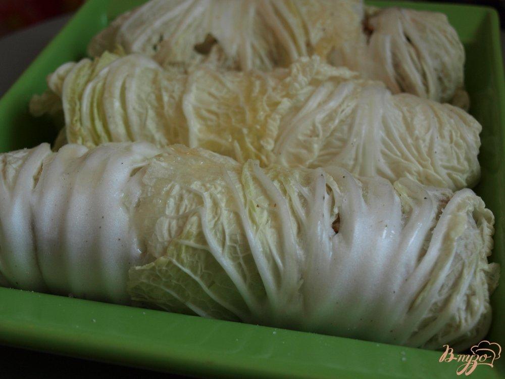 Фото приготовление рецепта: Рулеты из пекинской капусты с гречкой шаг №5