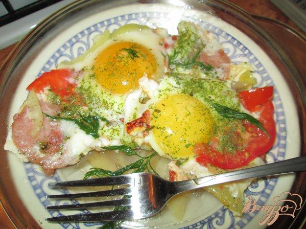 Рецепт Глазунья с помидорами и болгарским перцем