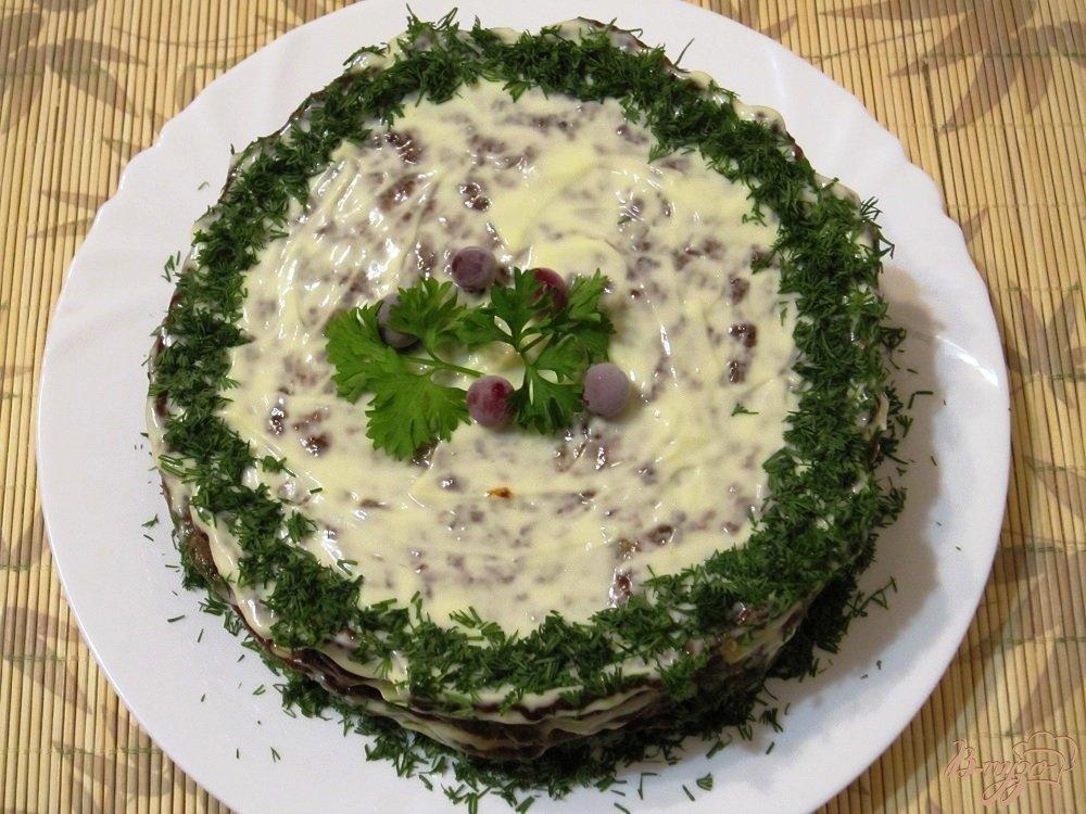 Фото приготовление рецепта: Торт из печенки шаг №10