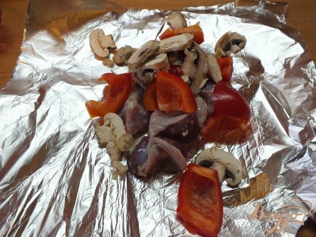 Куриные желудки с шампиньонами и перцем