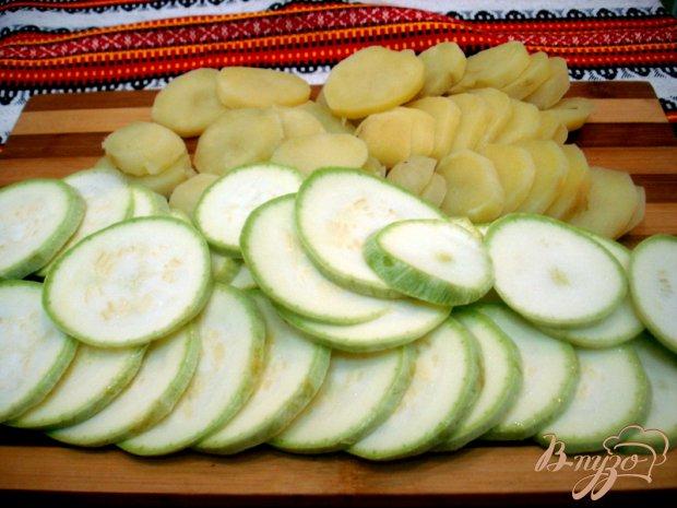 Картофель с кабачками запеченные в сливках