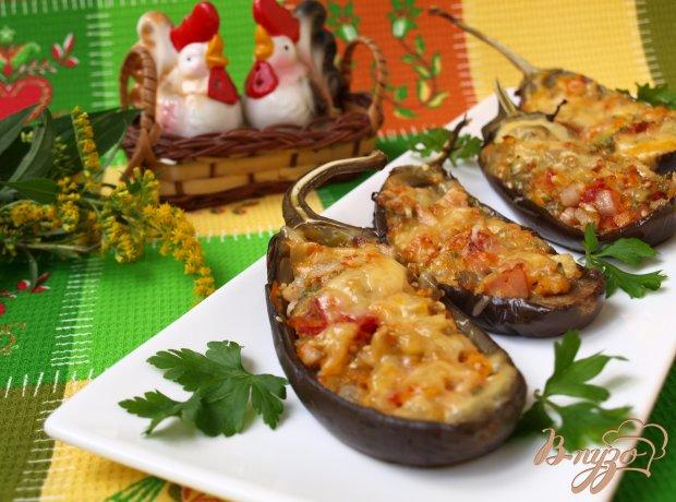 Баклажаны фаршированные овощами и копчёной грудинкой