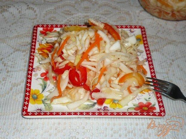 Маринованный салат из капусты с перцем и морковью