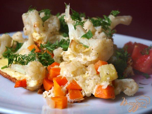 Омлет с цветной капустой и кабачками