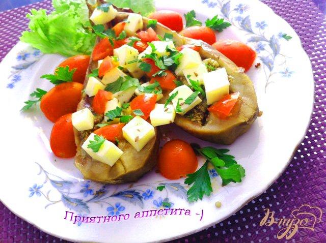 Фото приготовление рецепта: Закуска из баклажан, с моцареллой и помидорами черри шаг №5