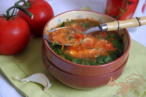 Постный суп с томатами и чечевицей