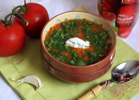 фото рецепта: Постный суп с томатами и чечевицей